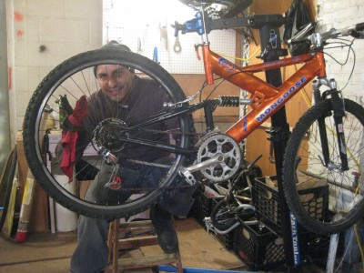 Yahir and his full-suspension box store bike